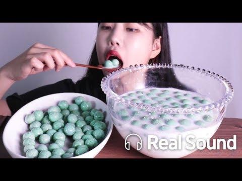 민트칩말트볼 따듯한 우유에 말아서 리얼사운드 먹방 (Eng sub) Mintchip Maltball + Milk Realsound Mukbang Show
