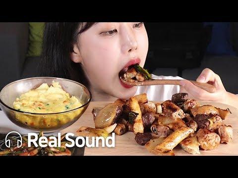 모듬소곱창(곱창,대창,막창,염통) & 부추무침 리얼사운드 먹방 (Eng sub) Beef intestines /Korean Realsound Mukbang eating show