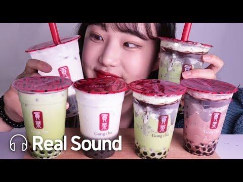 공차 겨울 신메뉴 4종 리얼 사운드 먹방 (Eng sub) Gongcha New Menu Realsound Mukbang