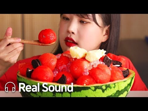 시원한 수박빙수 리얼사운드 먹방 (Ft. 팝핑보바, 오레오쿠키, 아이스크림) (Eng sub) Watermelon Ice Flake Realsound Mukbang