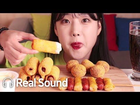BHC 뿌링핫도그&뿌링소떡&뿌링치즈볼 리얼사운드 먹방(Eng sub)Bburin Corndog&Cheeseball&Sausagetteok Realsound Mukbang