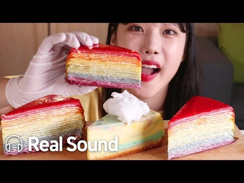 무지개 크레이프 케이크 & 치즈 케이크 리얼사운드 먹방 (Eng sub) Rainbow Crepe Cake & Cheese Cake Realsound Mukbang